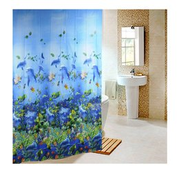 Wholesale Curtain Tracking - New 180 x180cm Sea Life Waterproof Fabric Bathroom Shower Curtain Shower Screen Light Blue With 12pcs Curtain Hooks Rings order<$18no track
