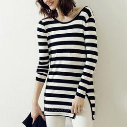 Wholesale Woman Long Sleeves Sweet Shirt - Fashion vintage women's shirt cotton shirt black&white strip printed sweet Women long-sleeve shirt