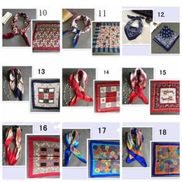 Wholesale Bee Headbands - 40styles imitation silk scarfs high quality bee plaid striped printed Big Square 70x70cm professional scarf Scarves 120 pcs YYA435