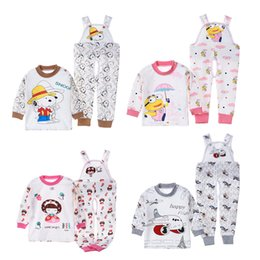 Wholesale Cheap Infant Rompers - Cheap 2016 Autumn Ins Infant Baby Rompers Kids Long Sleeve Printed Cotton 6M-4T Children Pants Overalls Set Boys Girls Climb Clothing Sets
