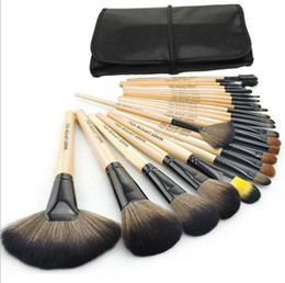 Wholesale Red Hair Brushes - 24pcs Professional Makeup Brushes Kit Pink Wood Make Up Brushes Sets Wool Brand Toiletry Brush Tools 24 pcs Black Red DHL Free Shipping