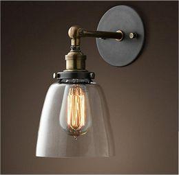 Wholesale Vintage Glass Lamp Shades - Loft Vintage Industrial Edison Glass Shade Loft Coffee Bar Wall Sconce Iron DIY Wall Light Warehouse Lamp Edison E27 Bulbs