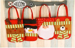 Wholesale Child Treats - Christmas candy bags Gifts handbag Children Kids baby Christmas Snowman Santa Claus Treat Bags for Party Decoration Supplies