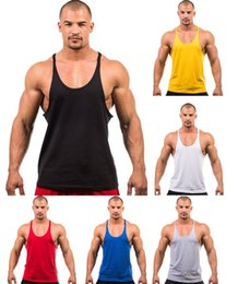Wholesale Y Back Muscle Shirts - Summer Stly Men Blank Stringer Y Back 100%Cotton Tank Top Gym Bodybuilding Clothings Fitness Shirt Sports Vests Muscle Tops