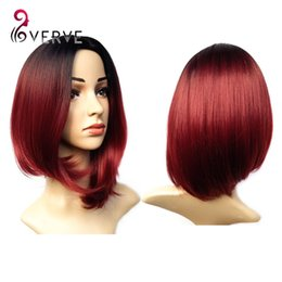 Wholesale Burgundy Bob Wig - ombre synthetic wigs burgundy bob wigs cheap synthetic sexy female short haircut wigs best natural looking women wigs cosplay