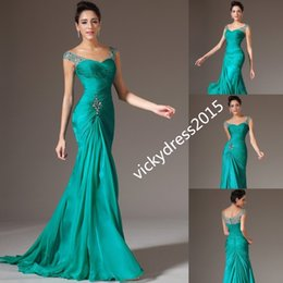 Wholesale Peacock Pictures - Beaded Peacock Cap Sleeve Mermaid Trumpet Chiffon Party Prom Formal Evening Dress Custom Size 2 4 6 8 10 12 14 16 18 20 22 24 26 28