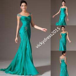 Wholesale Party Dress 18 - Beaded Peacock Cap Sleeve Mermaid Trumpet Chiffon Party Prom Formal Evening Dress Custom Size 2 4 6 8 10 12 14 16 18 20 22 24 26 28