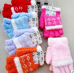 Wholesale Kids Cotton Finger Gloves - Wholesale- Yi wu Factory Children Boy Girls Five Fingers Winter Warm Gloves Mittens Kids Accessories 2-9 years