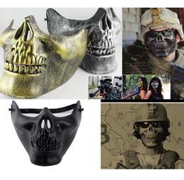 máscara facial de la media del cráneo del airsoft Rebajas 5 colores Scary Mask Skull Skeleton Airsoft Paintball media cara máscara protectora para Halloween Mascaras CS juegos máscara envío gratis
