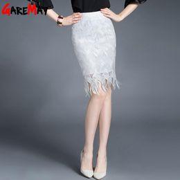 Wholesale Hip High Slit - Lace Shirts Female White Skirt For Women Package Midi Tassle Slit Hip High Waist Skirt Office Faldas Elegantes Mujer GAREMAY