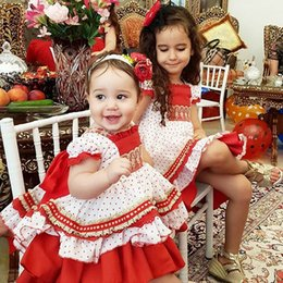 Wholesale Girls Pageant Dresses Polka Dot - Baby Girl Clothes Toddler Christmas dress Infant Princess Tutu Dress Polka Dot Birthday Wedding Pageant Party Dresses Chrildren Outfit
