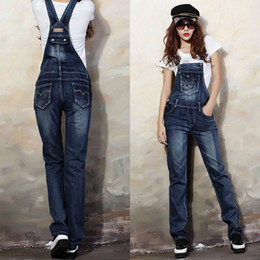 Wholesale Ladies Street Jeans - Wholesale- Sali 1PC Fashion Street Denim Bib Women Lady Jeans Spaghetti Strap Slim Pants