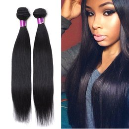 Wholesale 18 Inch Hair Length Straight - 4Bundles Brazilian Malaysian Peruvian Silk Straight Human Hair Weave Brazilian Silk Straight Virigin Hair Extensions Brazilian Straight