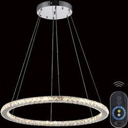 Wholesale Mounting For Diamond Pendant - Dimmable Diamond Round Ring Chandeliers Led Pendant Light For Kitchen Suspension Luminaire Lustre Living lamp circles Hanging Lights VALLKIN