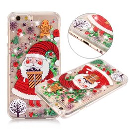 Wholesale Christmas Phone Cases - 2017 New Merry Christmas Tree Dynamic Colorful Quicksand Glitter Phone Case For iphone 7 7Plus 6 6s Plus 5 SE Hard back cover coque US1