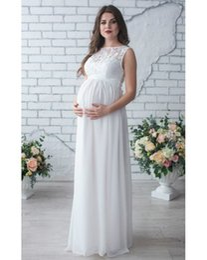 Jupes d'été pour femmes enceintes en Ligne-2018 printemps et d'été robe pour les femmes enceintes, les femmes enceintes robe de dentelle autour du cou, jupe de femmes enceintes