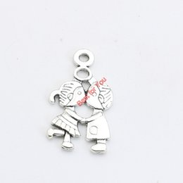 Wholesale Boy Kissing Girl - 20pcs Antique Silver Plated Kissing Boy Girl Charms Pendant Bracelets Necklace Jewelry Making Accessories DIY 28x16mm