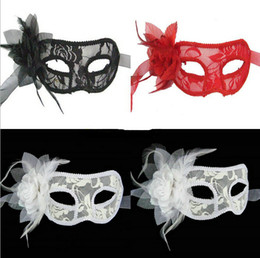 Wholesale Man Sexy Christmas - hot sale New sexy Black white red Women Feathered Venetian Masquerade Masks for a masked ball Lace Flower Halloween Masks 3colors