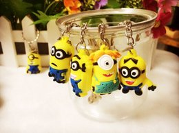Wholesale Despicable Minion Silicone - 052002 2015 Hot Sale 3D Despicable Me Minion Action Figure Keychain Keyring Key Ring Cute Mix order 10 styles DHL freeShip from bond50 500PC