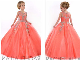 Wholesale Girls Black Lace Stockings - In Stock Coral 2016 Little Girls Pageant Dresses Princess Tulle Sheer Jewel Crystal Beading Kids Flower Girls Dress Birthday Gowns