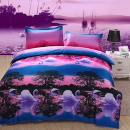 Wholesale Comforter Sets Swan - 2017 New Fashion Swan Lake Pattern 3D Bedding Set Home Textiles Twin Queen King Size Bed Sheets Quilt Pillow Case Wholesale 4PCS