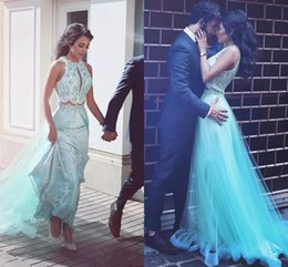 Wholesale Blue Fantastic - Fantastic 2017 Mint Two Pieces Lace Evening Dresses With Keyhole Jewel Neck Zipper Back A-Line Formal Evening Gowns Dresses Evening Wear