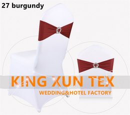 Wholesale Cheap Chair Sash Buckles - Cheap Price Lycra Spandex Chair Band Sash With Crown King Buckle For Cheap Wedding Chair Cover Decoration