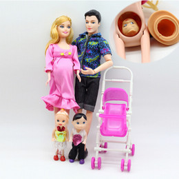 Wholesale Carriage Doll - Wholesale- 5 People Dolls Toys Fashion New Family Suits Mom Dad Little Kelly Girl Baby Son Baby Carriage Real Pregnant Doll Gifts