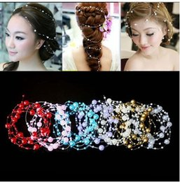Wholesale Blue Head Pieces - Sexy bridal head piece bridal faux pearl and beading chains bridal hair chain 9 colors