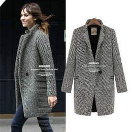 Wholesale Ladies Wool Blend Coats - 4041autumn winter 2016 girl women fashion elegant plus size woolen coat jacket ladies houndstooth jackets coats overcoat S-4XL free shipping