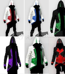 Wholesale Assassin Creeds Costume - Hot Sale Assassins Creed 3 III Conner Kenway Hoodie Coat Jacket Anime Cosplay Assassin's Costume Cosplay Overcoat
