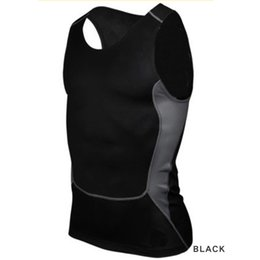 Wholesale Tight Black Tank - Wholesale-Men Compression Tight T-Shirt Base Layer Fitness Gym Workout Vest Tank Tops S-XXL Hot