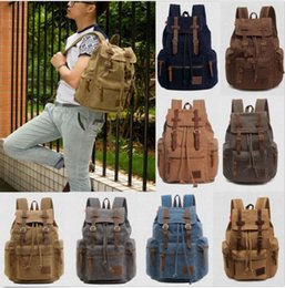 Wholesale Army Style Camping Backpack - Travel Canvas Leather Backpack Sport Rucksack Camping School Satchel Hiking Bag Fashion Unisex Backpacks DHL free