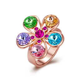 Wholesale Rainbow Crystal Gemstone - Gemstone Ring Rose Gold Plated Rhinestone Rainbow Mix Color Crystal Christmas Gifts Free Shipping Size 8 GPR330