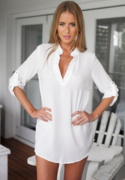Wholesale Sexy V Neck White Blouse - Fashion Cultivate One's Morality V-neck Blouse Sexy Pure Color Long Sleeve Shirts White, black, blue,Puls Size