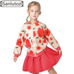 Wholesale Long Winter Jackets For Kids - Wholesale- Sanlutoz Flower Kids Clothes for Girl Winter Suit Sport Children Girl Clothing Set Tracksuit (Jacket + Skirt) Christmas Red 2016