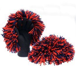 Wholesale Fan Gloves - 2016 Wholesale Basketball Fans Cheerlead Stadium Cheering Cheerleaders Cheer Creative Hair Ball Gloves Knitted Gloves 03