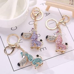 Wholesale Plants Supports - Hot 3 Colors Key Chains Fashion Dog Rhinestone Keychain Bag Handbag Ring Car Key Pendant Support FBA Drop Shipping D309Q