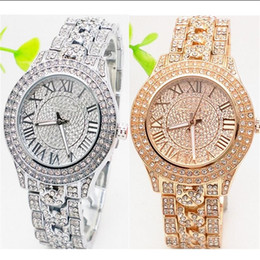 Argentina 2018 Double row Rhinestone Diamond incrustación escala de caracteres de Roma Dial del reloj Ma'am Quartz Watches Relojes de cuarzo de acero inoxidable para mujer cheap clock double Suministro