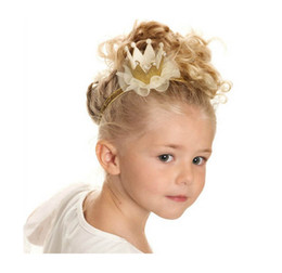 Wholesale Handmade Crown Baby - Retail 5colors Newborn Mini Felt Crown+Glitter Elastic Headband For Girls Hair Accessories Handmade Luxe Baby Headbands