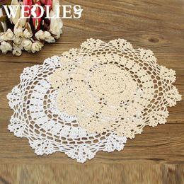 Wholesale Crafting Retro - Wholesale- Round Retro Crochet Lace Doilies Floral Placemat Coasters Home Coffee Shop Table Design Decorative Crafts Home Textiles 30CM