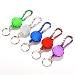 Wholesale Key Holder Labels - New Colourful Strap Carabiner Clip Card label Keyring Retractable Metal Card Badge Holder Ring Belt Clip Pull Camping Key Chain