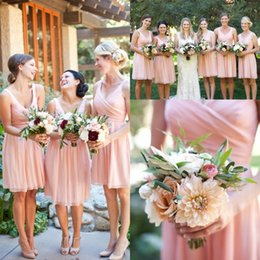 Wholesale Flow Mini - 2017 Cheap In Stock Short Bridesmaid Dresses Pink V-neck Backless Ruched Maid of the Honor Dresses Flow Chiffon Cocktail Homecoming Dresses