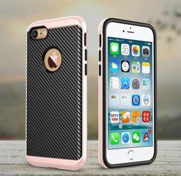 Wholesale Hybrid Case For Iphone 5c - Slim Armor Defender Case For iPhone 7 6 6S Plus 6Plus 5C SE 5 5S Carbon Fiber Flexible TPU Cover Electroplating PC Frame Hybrid Case