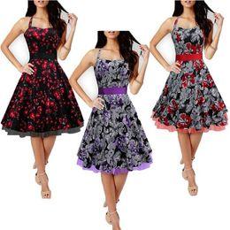 Wholesale Knee Length Swing Cocktail Dress - Audrey Hepburn vintage Halter Neck belt big swing floral dress women sexy party cocktail 50s 60s dresses robe vestidos de fiesta