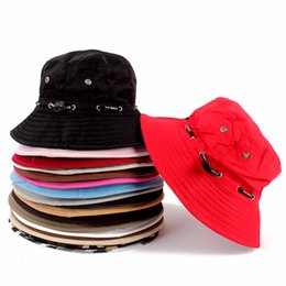 Wholesale Brown Bucket Hat - Wholesale-Fashion Unisex Fishing Bucket Canvas Boonie Hat Sun Visor Cap Travel Outdoor Hat
