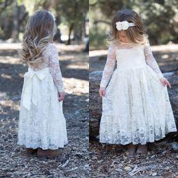 ilusão, neckline, flor, menina Desconto Florista do vintage Vestidos Vestido de casamento barato Illusion alta qualidade de manga comprida Lace Pouco Vestido Meninas com Sash Decote Sheer