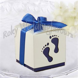 Wholesale Baby Shower Cupcake Favor Boxes - FREE SHIPPING 12PCS Deep Blue Pterry Feet Favor Boxes Candy Boxes with Satin Ribbon 1st Birthday Cupcake Boxes Baby Shower Table Setting