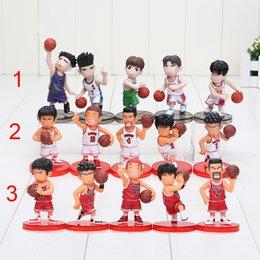 Wholesale Wholesale Basketball Toys - 8cm 5pcs set Slam Dunk action Figures Japanese Anime action Figure Basketball Toys Sakuragi Hanamichi Pvc Cartoon model Kid Gift