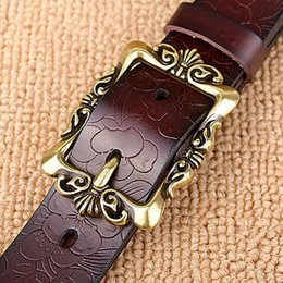 Wholesale Vintage Girdles - Wholesale- Top Quality jeans girdle Hot New Vintage Belt Woman Genuine Leather Cow skin strap Fashion Floral Buckle Belts For Women